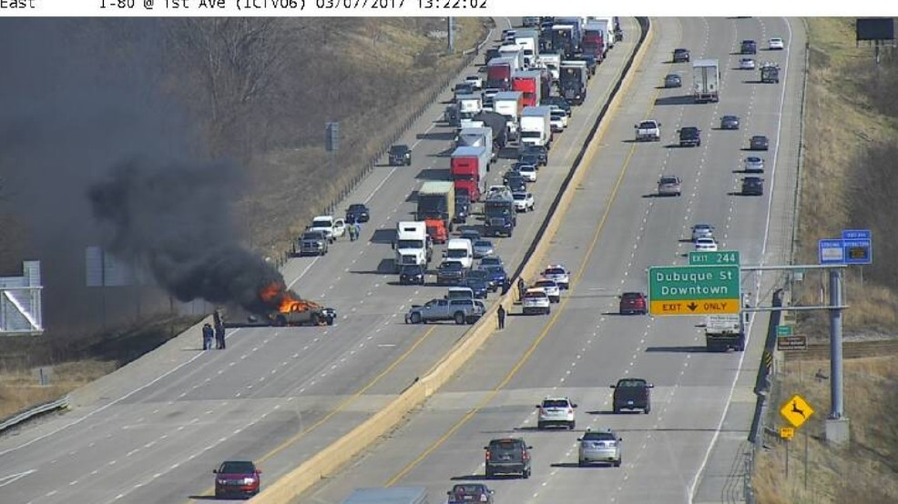 Fiery crash shuts down I-80 westbound near Iowa City | KGAN