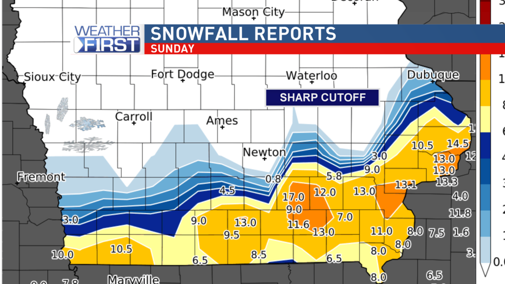 Snowfall Totals Big Snow In Southeast Iowa Kgan
